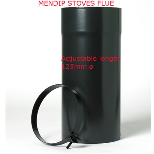Picture of Matt Black Flue Pipe 125mm Adjustable Length