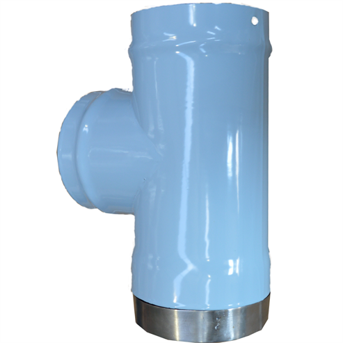 Picture of Glossy Enamel Flue Pipe   125mm⌀   Tee Piece