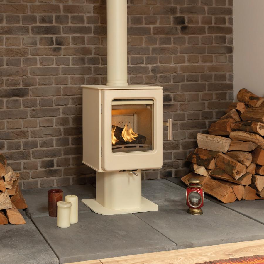Ashcott Ivory Pedestal Woodburning Stove