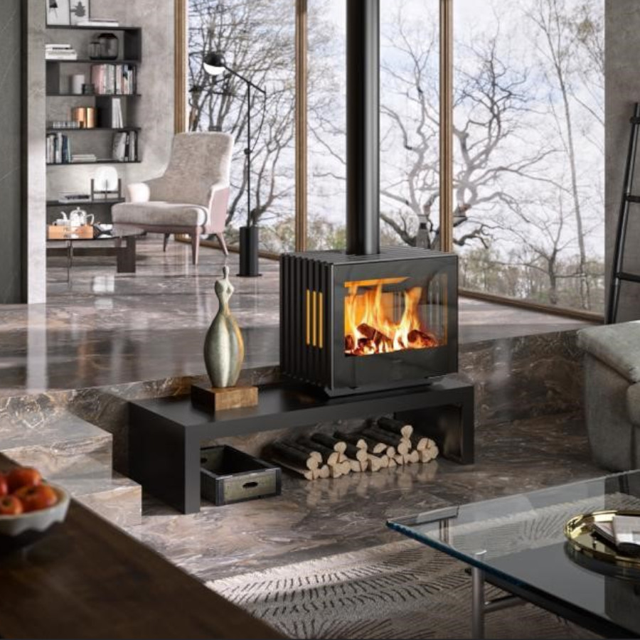 Hergom Glance Wide Wall Hung on Table Stand Ecodesign Woodburning Stove