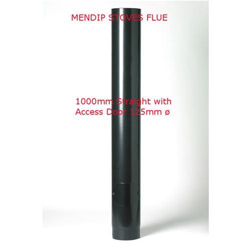 Picture of Matt Black Flue Pipe 125mm Straight Length