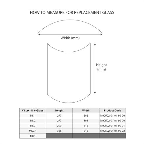 Picture of Glass Pane - MP Churchill 5, 6 (Mk1, 2), 8 (Mk1)